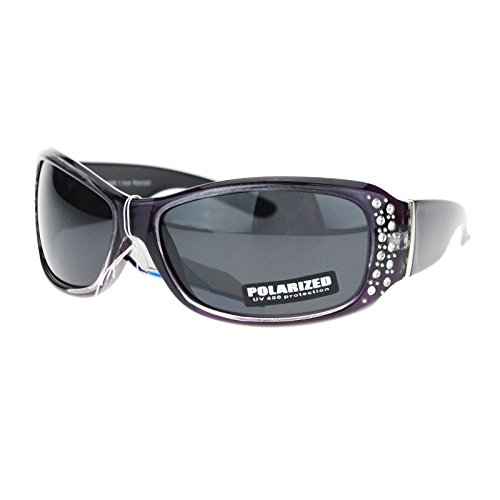 Anti Glare Polarized Womens Rhinestone Oval Rectangular Designer Sunglasses Purple