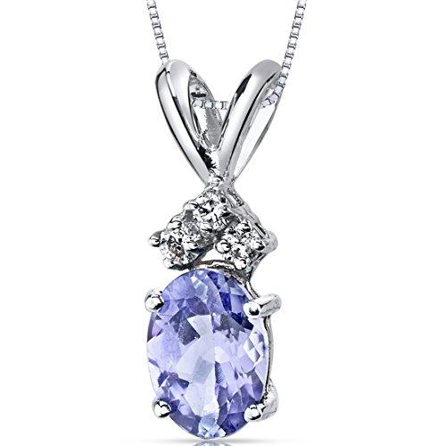 - 14 Karat White Gold Oval Shape 0.75 Carats Tanzanite Diamond Pendant