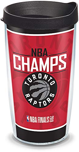 (Tervis 1336296 Toronto Raptors 2019 NBA Champions Insulated Tumbler with Wrap and Black Travel Lid, 16 oz - Tritan, Clear)
