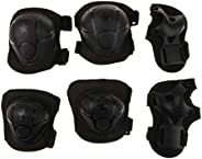 Children Cycling Roller Skating Knee Elbow Wrist Protective Pads - Black