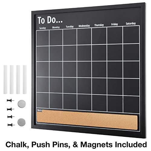Framed Calendar Chalkboard: Includes Chalk & Magnets & Push Pins/Chalk Board Size 22