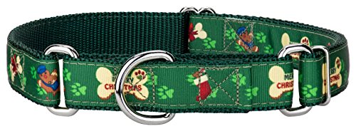 Christmas Collar Ribbon Dog Pet (Country Brook Design Doggy Christmas Ribbon Martingale Dog Collar - Large)