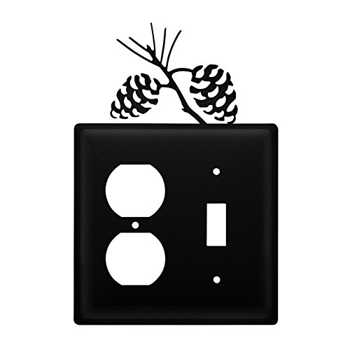 Iron Pine Cone Outlet & Switch Cover - Black Metal ()