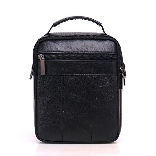 Meigardass Men's Genuine Leather Small Messenger Bag Shoulder Bag Briefcase Handbag (black) by Meigardass (Image #1)