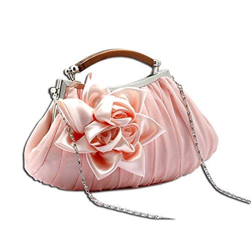 KAXIDY Bolso de Embrague Flor Bolsos de Fiesta Bolsos de Boda Carteras de Mano Rosa