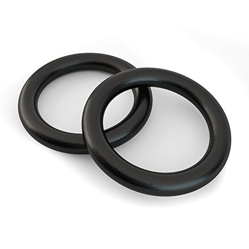 Rings - Premium Heavy Duty Cross Training, Gymnastics, Fitness, Exercise Rings (Black Rings Only) ()