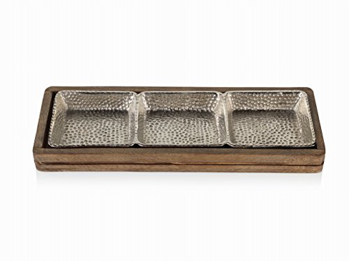 Serving Hammered Aluminum Tray (Zodax Mango Wood Hammered Aluminum Sectional Snack Serving Tray)