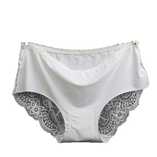 DETALLAN Women Lace Hollow Briefs Underwear (White) - 50a Costume