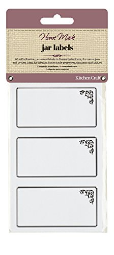 KitchenCraft Home Made Jam Jar Labels for Jars and Bottles, Monochrome Design, Black/White, Pack of 20