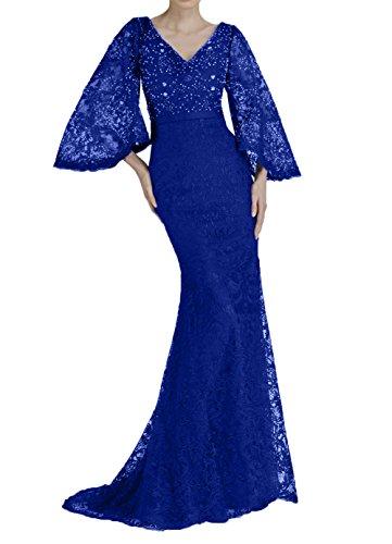 Bodenlang 2018 Ballkleider La mia Abendkleider Braut Spitze Royal Brautmutterkleider Blau Meerjungfrau ZwB1A