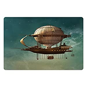 Ambesonne Fantasy Pet Mat for Food and Water, Surreal Sky Scenery with Steampunk Airship Fairy Sci Fi Stardust Space Image, Rectangle Non-Slip Rubber Mat for Dogs and Cats, Teal and Brown
