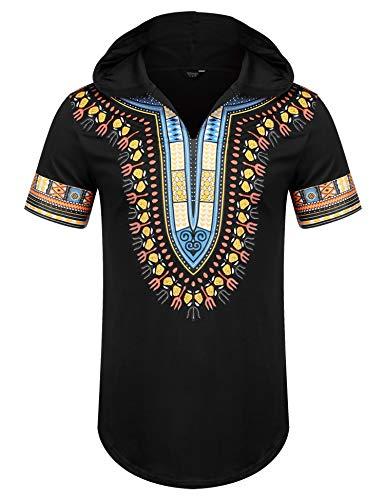 Men Dashiki Shirt African - COOFANDY Mens African Dashiki Shirts Tribal Hooded Pullover Short Sleeve Top Black