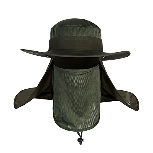(ICSTH Mens Outdoor Reaserch Sun Cap Bucket Mesh boonie Hat Sun Protection Fishing Cap Neck Face Flap Hat Wide Brim (Army Green))