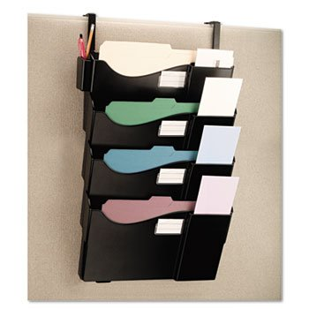 Universal Grande Central Filing System, Four Pocket, Partition Mount, Plastic, Black - Hanging File Systems Type