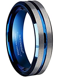 queenwish 6mm blue tungsten wedding bands silver brushed engagement couples rings comfort fit size 5 13