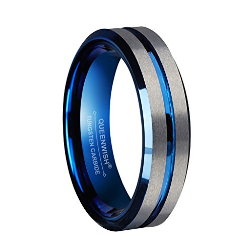 Queenwish 6mm Blue Tungsten Wedding Bands Silver Brushed Matte Grooved Center Promise Rings for Couples Size 10 ()