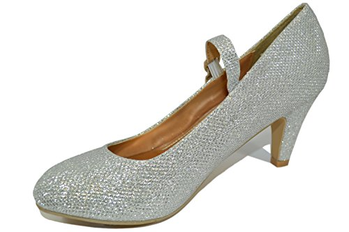 Haphop Women's Mary Jane Mid Heel Almond Toe Pump Shoes, Silver Glitter, 7.5 M US