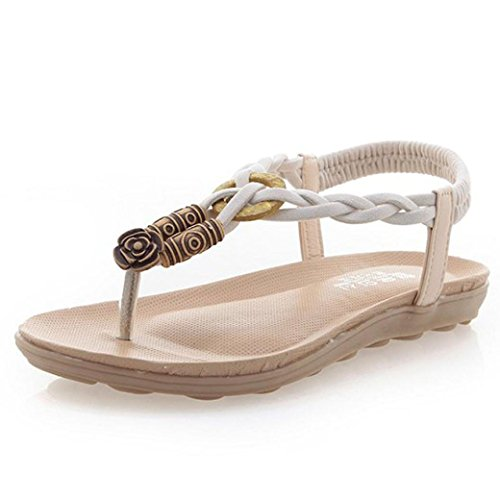Hunpta Sommer-Böhmen Sweet Perlen Sandalen Clip Toe Sandalen Badeschuhe Beige