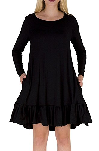 Lihuang Women's Long Sleeve Bottom Ruffle Tunic Mini Dress With Pockets