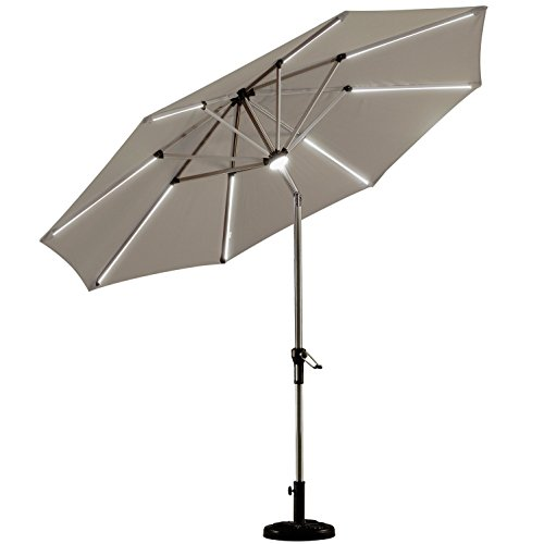 PURPLE LEAF 9 Feet Solar Powered LED Lighted Patio Umbrella with Push Button Tilt and Crank Outdoor Market Umbrella Garden Umbrella, - 9 Umbrella Lighted Market