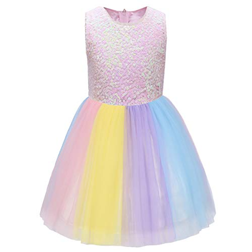 Girls Unicorn Costume Cosplay Rainbow Princess Party Fancy Dress Up Halloween Birthday Tulle Tutu Skirt Little Big Sisters Matching Outfit Cake Smash Twins Photo Props Pink Sequin + Rainbow 2-3 -