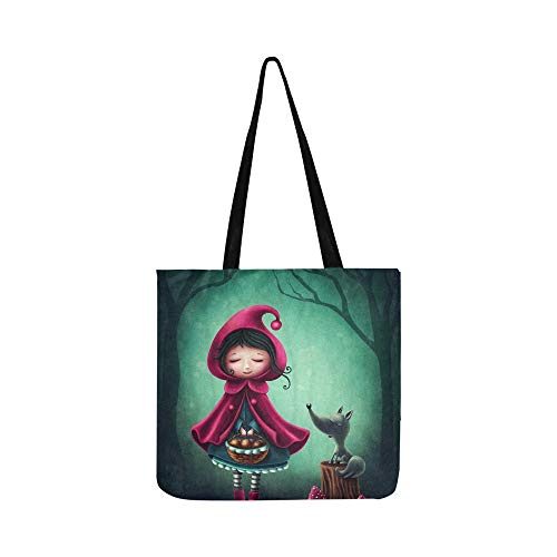 Little Red Riding Hood Wolf Canvas Tote Handbag Shoulder Bag Crossbody Bags Purses For Men And Women Shopping Tote]()