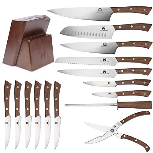 Vestaware Knife Set, 16-Piece Chef Knife Set with Wooden Block, StainlessSteel Kitchen Knives Set with Knife Sharpener, 6 Steak Knives and BonusScissors by Vestaware (Image #1)
