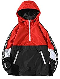 Mens Windbreaker Pullover, Loose Hooded Assault Coat Large Size Lightweight Breathable Jacket