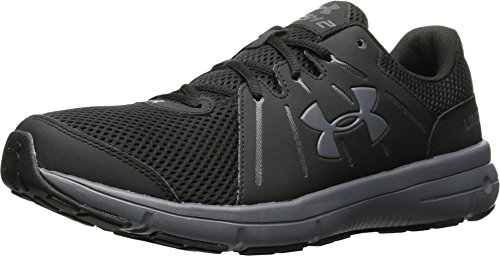 Under Armour Mens UA Dash RN 2 Black/Rhino Gray/Rhino Gray Athletic Shoe (10.5 4E - Extra Wide)