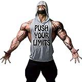 YKARITIANNA Men Fitness Muscle Print Sleeveless Bodybuilding Hooded Tank Vest Tops Blouses Gray