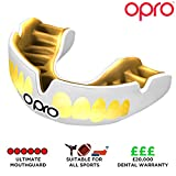 Opro Power-Fit Club Colours Mouthguard | Gum Shields For GAA, Rugby, Hockey, BJJ, Boxing, and Other Combat Sports - 18 Month Extended Dental Warranty (Ages 10+) (White/Gold Teeth)