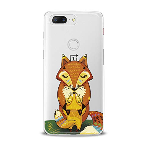 Lex Altern TPU Case for OnePlus 7 Pro 6T 6 2019 5T 5 2017 One+ 3 1+ Cute Fox Orange Baby Clear Mommy Silicone Cover Print Protective Lightweight Flexible Girls Women Soft Kids Smooth Hugging Kiss