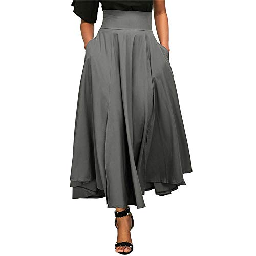 High-Waisted Pleated Skirt Side Slit A-Line Pleated Belted Long Skirt Pocket Flared Skirt with Belt