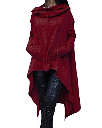 みがきます不満ベーコン女性 ルーズパーカー スウェット 長袖 アウターコート ドレス カンガルーポケットと非対称裾付き
