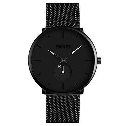 - Mens Watch Black Ultra Thin Wrist Watches for Men Fashion Luxury Waterproof Dress Stainless Steel Band Quartz Watches - White