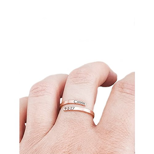 MANZHEN Gold Silver Personalized Initial Letter Ring Custom Name Rings for Women (Rose Gold)