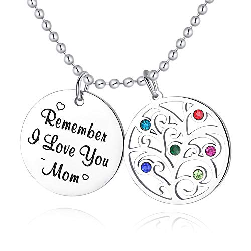XBRose Tree Life Birthstone Necklace Remember I Love You Mom Mothers Day Birthday Gifts Mom from Daughter Son