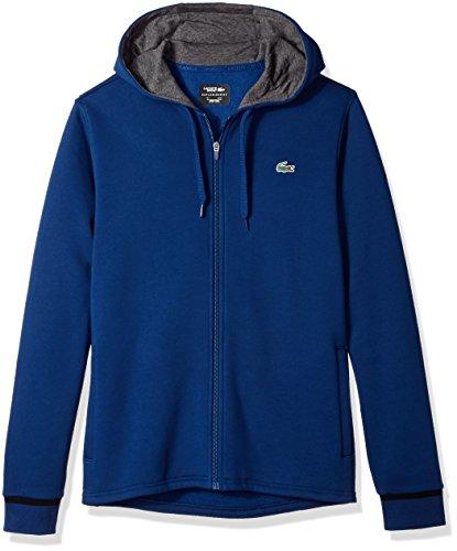 Lacoste Men's Long Sleeve Hoodie with Novak Back Graphic Sweatshirt, SH6683, Marino/Black, XXX-Large