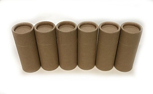 Empty Cardboard Deodorant Containers - Push-up style, top-fill, reusable and biodegradable, (6-Pack)