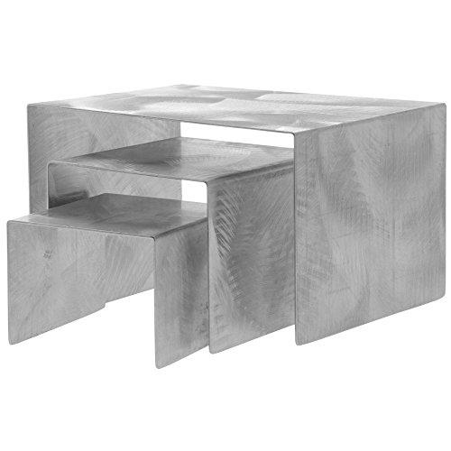 Stainless Steel Riser Set - Metal Display Riser Set Urban Chic Swirled Stainless Steel Set of 3