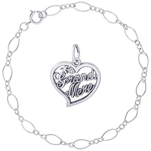 Rembrandt Charms Sterling Silver Grand-Mere Charm on a Figaro Link Bracelet, 7