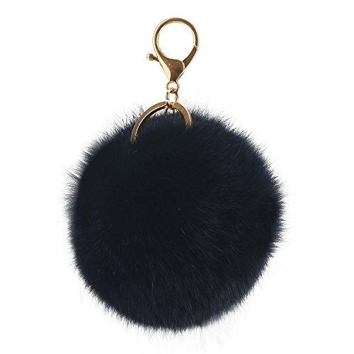 Cute Keychain,Dealzip Inc Rabbit Fur Ball Pom Pom Key Chain Gold Plated Keychain with Plush for Car Key Ring or Handbag Bag Decoration,Black ()