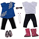"""I Love Sparkles Bundle - 18"""" Doll Outfit Set - 6 Items Including Hi-Lo Top and Pants, White Top and Jeggings, Brown Doll Glasses, Necklace and Earrings- Fits American Girl Dolls"""
