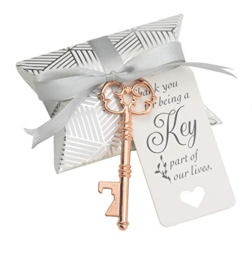 (50pcs Wedding Favor Souvenir Gift Set Pillow Candy Box Vintage Skeleton Key Bottle Openers Gift Card Thank You Gift Tag Ribbon (Rose Gold))