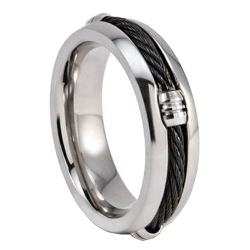 8MM Titanium Black Cable Inlay Men's Wedding Band Ring Size 7