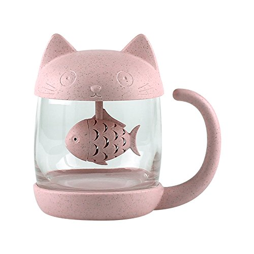 3D Cute Cat Glass Tea Mug; Animal Coffee Mug; Tea Cup With Fish Infuser Filter Strainer;Lovely Kitty Cup ; Novelty ; Home Office Décor