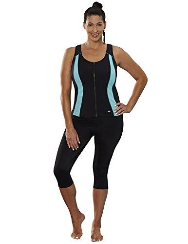 Aquabelle Women's Chlorine Resistant Xtra Life Lycra Vest Capri Set 14 Green