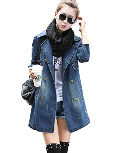 Yeokou Women's Casual Loose Mid Long Denim Jean Windbreaker Jacket Trench Coat (Medium, Denim Blue) by Yeokou