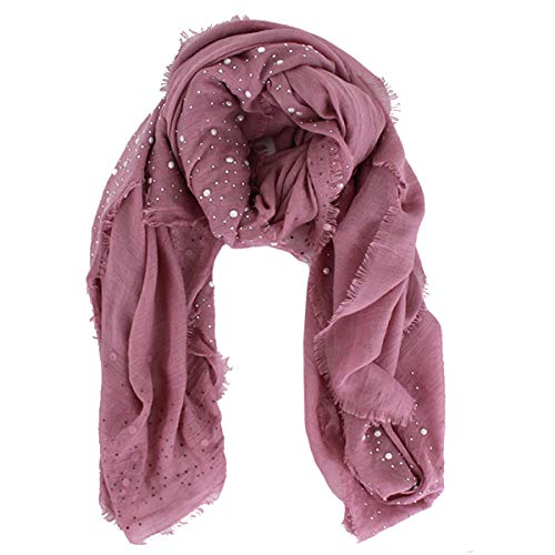YAOSEN Cotton and Linen Pearl Hijab Thin Square Scarf with Raw Edges (Pink) ()