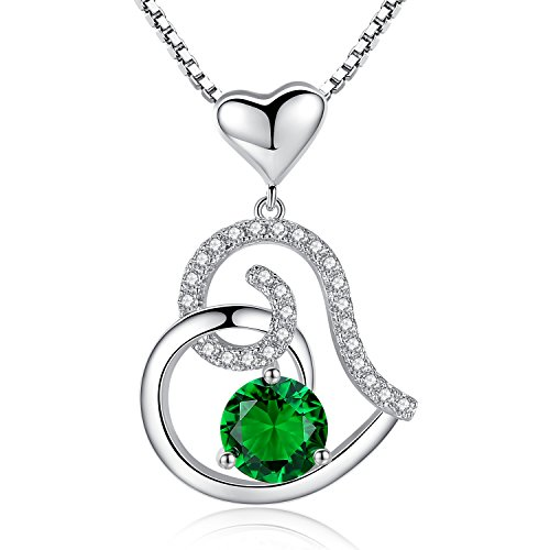 Studiocc Emerald May Birthstone Necklace, Ladies Birthday Necklace Gifts, Love Heart Cubic Zirconia CZ Pendant Necklace, Jewelry for Women, Girls, Friendship, Wife, Mom, Mother, Her, Anniversary Gift May Birthstone Heart Charm